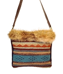 HB-0356  Hand woven Aztec wool with coyote fur flap  17
