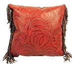 P-0825  Red leaf swirl embossed leather  18