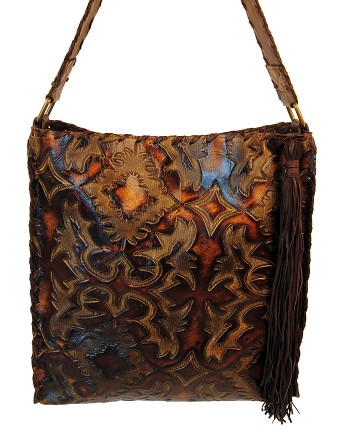 "Handbag  HB-0383  15"" X 17"" Brown and caramel color Laredo Sepia design leather."