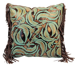 "P-0851 Leaf swirl design embossed leather. 18"" X 18"""