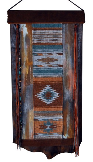 "WH-0146 Blue tan and rust Aztec rug with hand painted patina leather 24"" X 34"""