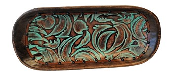 BO-0120 Leaf swirls embossed leather in turquoise and brown colors