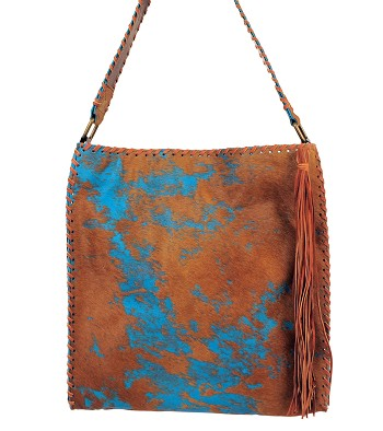 "Handbag  HB-0351 15"" x 17""  Turquoise and tan acid wash Hair on Cow leather"
