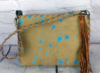 Handbag  HB-0351 15' x 17'  Turquoise and tan acid wash Hair on Cow leather