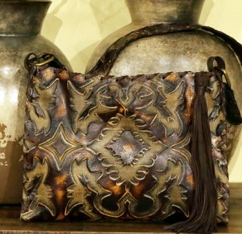 "Handbag  HB-0384 13"" X 11""  Brown and caramel colors Laredo Sepia design."